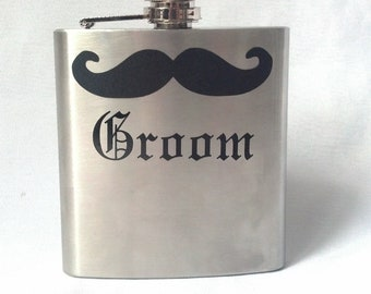 Gift for Groomsmen mustache flask, 6 ounce, stainless steel personalized flask. Olde English font with name or title
