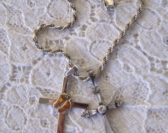 Vintage Sterling Silver Rope Chain Bracelet & Two (2) Sterling Silver Crosses