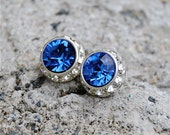 Sapphire Blue Earrings Swarovski Crystal Cobalt Blue Diamond Rhinestone Studs Sugar Sparklers Mashugana