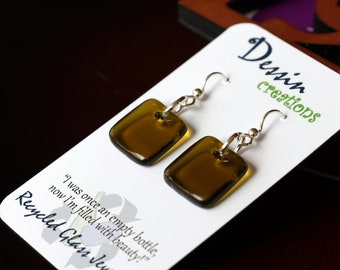 Wine Bottle Jewelry, Handcrafted Earrings, Upcycled Glass Jewelry, Chardonnay Wine Bottle, Sterling Silver, Dessin Creations