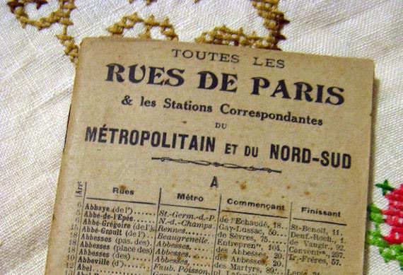 Vintage 1910s Streets of Paris Guide Book - Antique Art Nouveau Travel Ephemera