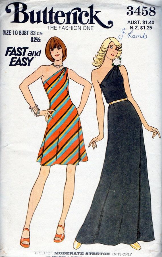 1970s One Shoulder Dress In 2 Lengths Vintage Sewing Pattern - Butterick 3458 Bust 32 1/2