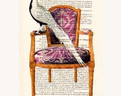 Bird on armchair Painting Prints posters Acrylic paintings Illustration Original Drawing Giclee Mixed Media Art digital typography