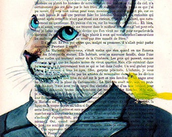 Dandy Cat-painted portrait- Original Illustration-Art Print-Art Poster- Hand Painting Mixed Media- Kids Wall Art Dictionary Nursery, coco