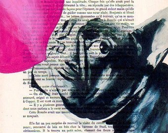 Original Illustration Art Print Art Poster Hand Painting Mixed Media French Vintage Kids wall art kids art decor: French bulldog bubblegum