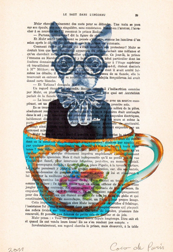 Dog in a cup-Original Illustration-Art Print-Art Poster- Hand Painting Mixed Media- Kids Wall Art Dictionary Dorm Decors Bunny Nursery
