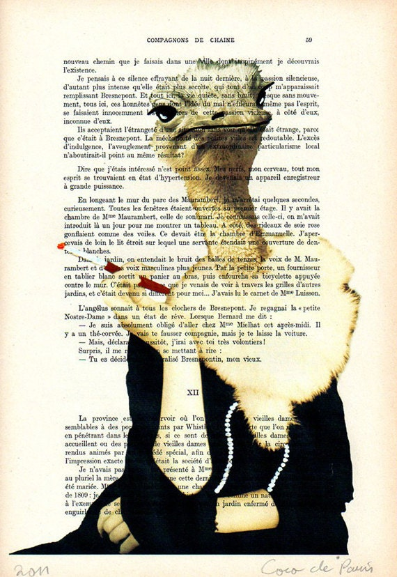 Jetset ostrich -Original Illustration-Art Print-Art Poster- Hand Painting Mixed Media- French 1920 Vintage Paper