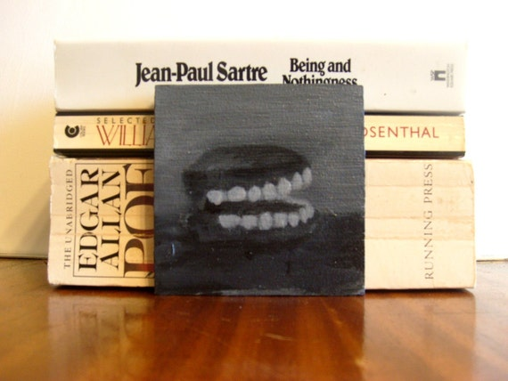 Small Acrylic Painting of Chattering Teeth in Black and White - Funny Dentist Painting - Original Painting - Absurd Art - Size 4x4