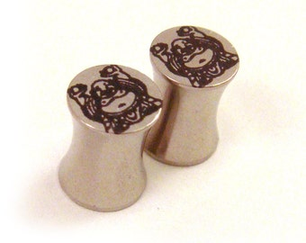 "Buddha 316L Steel Plugs - Double Flared - 2g 0g 00g 7/16"" (11 mm) 1/2"" (13mm) 9/16"" (14mm) 5/8"" (16mm) Buddhist Metal Gauges"