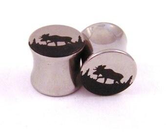 "Moose Double Flared Steel Plugs - 2g (6 mm) 0g (8 mm) 00g (10 mm) 7/16"" (11 mm) 1/2"" (13 mm) 9/16"" (14 mm) 5/8"" (16 mm) Metal Ear Gauges"