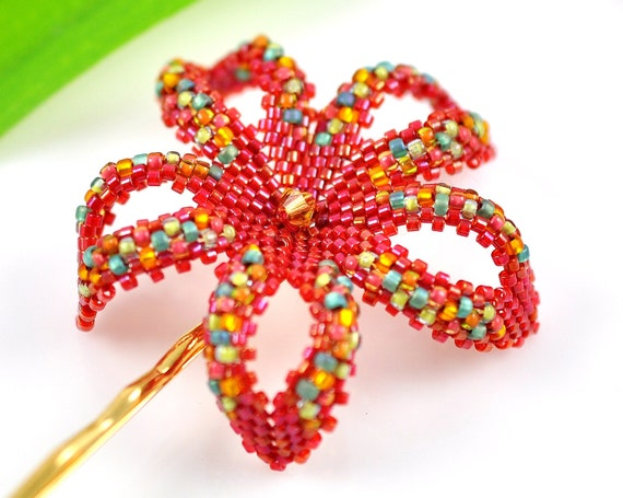 Mexican beaded flower - multi color red plumeria - Fiesta