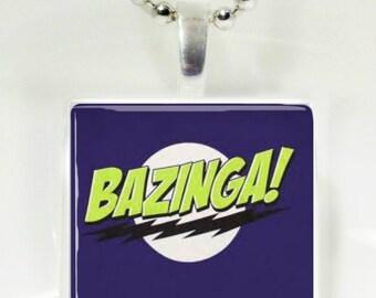 Big Bang Theory Bazinga Glass Tile Pendant