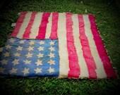 Primitive, American Flag, Handmade, Quilt