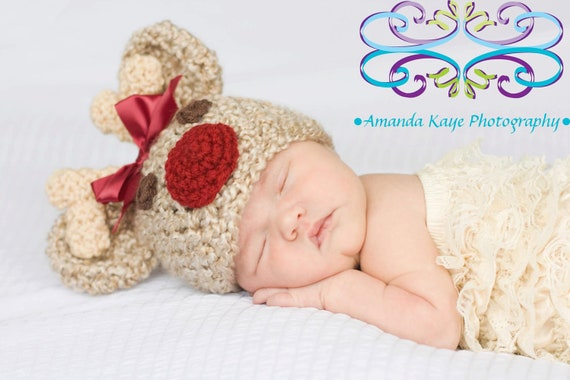 Crochet Baby Hat, Baby Rudolph Hat, Baby Reindeer Hat, Animal Hat, Baby Girl Hat, Newborn Baby Hat, Newborn Prop, Crochet Baby Hat