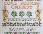 Linda Bird VEGETABLE PATCH SAMPLER & Towels By The Design Connection - Counted Cross Stitch Pattern Chart