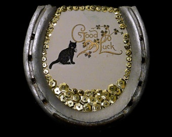 Horseshoe Vintage Lucky Black Cat Art Illustration Gold Detail Embossed Good Luck Wall Art
