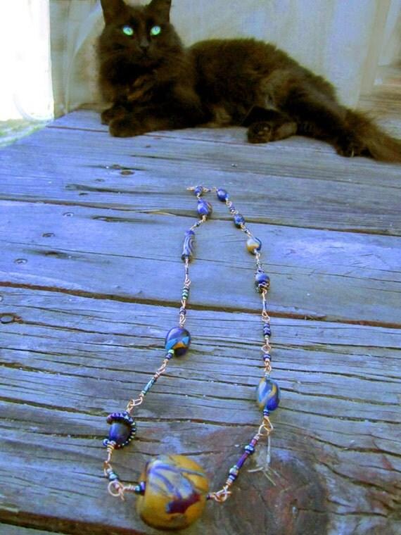 Peacock Copper Long Necklace