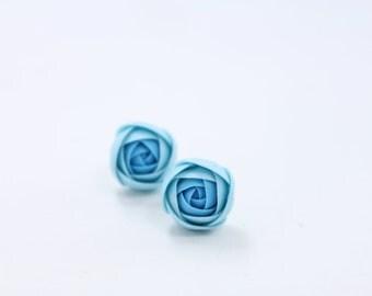 Blue Ranunculus Stud Earrings Wholesale Flower Small Hypoallergenic Studs Women Accessory Weddings Bridal Birthday Gifts Jewelry Earrings