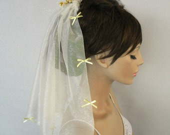 Veil, Shoulder Length, Off White Tulle Blusher, Yellow Flower Spray, Girl First  Holy Communion Veil, Unique Item
