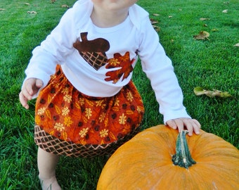 2 piece outfit Fall and Thanksgiving outfit - shirt with fall autumn leaves, acorn applique, brown, gold skirt toddler girl tween NB - 16