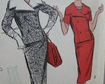Fabulous Vintage 60s Misses' Two-Piece DOUBLE-BREASTED SUIT Pattern Factory Folded