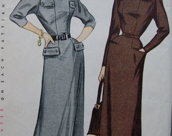 Fabulous Vintage 40's Misses' Dress Pattern ONE-PIECE DRESS