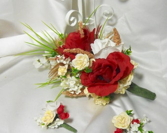 Red And Cream Cascading Bouquet With Tan Feathers And Green Ivy Matching Boutonniere Included