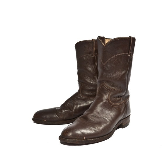 Men S Pull On Justin Roper Boots In Chocolate Brown All