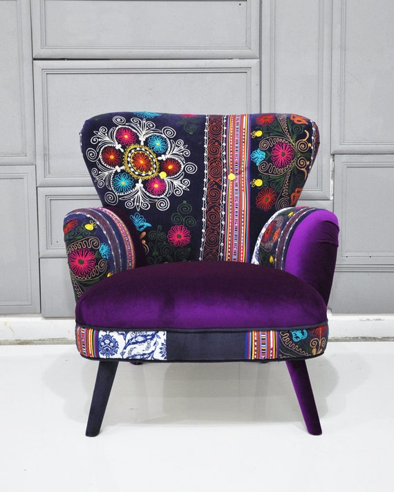 Items similar to Patchwork armchair with Suzani and purple ...