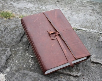 """Leather Sketchbook with Drawing Paper and Water Color Paper - Travel Journal for Artist - """"The Wanderer"""""""