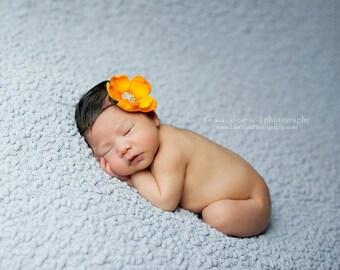 Baby Headband..Baby Flower Headband..Baby Girl Headband..Rhinestones..Orange Flower Headband..Orange Headband..Infant Baby Headband