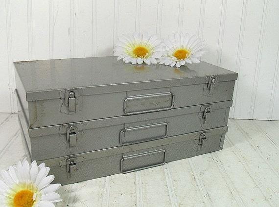 Hammered Metal Silver Grey Slide Box Set - Vintage Organizing File Boxes Trio - BoHo Industrial Decor