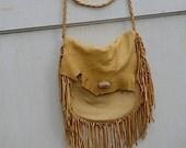 vintage tan prairie deerskin western handmade cowboy cowgirl leather horses rustic shabby winter bag purse