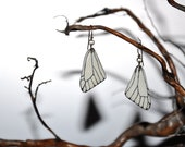 Black Veined White Butterfly Wings Earrings - Carved Walnut Hardwood & Hand Painted - 14 Karat Gold Filled Findings