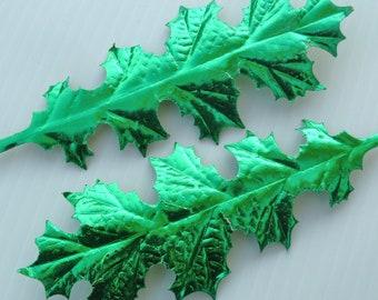 Christmas Paper Craft Leaves GREEN Metallic Foil Art DIY Wreath Floral Supply RR10 Sm.