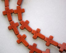 1 Strand, 24 beads . Small Stone Cross Beads in CHOCOLATE BROWN how0139