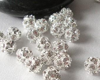 8mm Fireball Rhinestone Beads, Silver and Crystal Rhinestone Disco Ball Spacer Beads, 12 beads, bme0015a