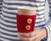 Coffee Cup Cozy, Crochet Coffee Sleeve, Reusable Coffee Cozy with Wooden Heart buttons by The Cozy Project