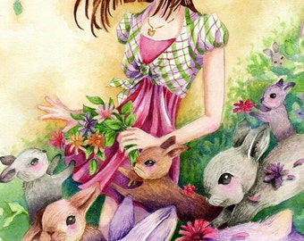 "Art Print, Cute Girl With Bunnies, ""For Emily"", 5x7 Print, 8x12 Print"