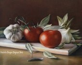 """Bay Leafs and Tomatoes, Fine Art 8x10"""", Drawing, Garlic, Bay Leafs, Herbs, Vegetables, Cutting board, Vegetable on a Table, Kitchen, Food"""