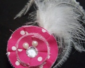 Vintage Inspired Minnie Mouse Theme Hot Pink and White Polka Dot Fabric Hair Clip with Feathers