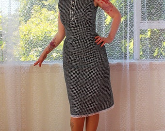 """1950's """"Kate"""" Style Office Dress with Peter Pan Collar, Button Front and Pencil Skirt with Lace trim - Custom made to fit"""