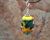 Artisan Glass Bead Pendant Sterling Silver - Jazz Stream Shards - Handmade Artisan Lampwork Unique