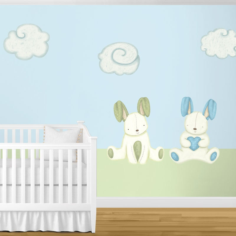 giant bunny rabbit amp cloud wall stickers for baby nursery bunny rabbits and birds wall sticker by mirrorin