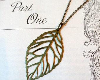 Leaf necklace- Antique bronze filigree leaf necklace-Antique bronze leaf necklace-Filigree necklace-Large leaf necklace-Bronze leaf necklac