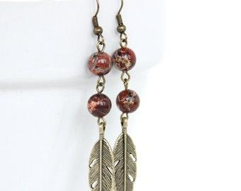 Poppy Red Jasper Jewelry, Jasper Dangle Earrings, Boho Earrings, brass feather