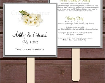 Calla Lily Program Fans Kit -  Printing Included. Wedding ceremony programs