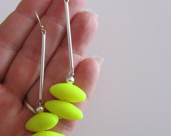fluoro acid electric pop yellow and silver ear wires colour block polymer clay fashion earrings