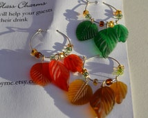 Fall Thanksgiving Leaves Wine Charms Set of Six Silver with Glass Beads and Glass Leaves