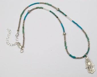 Silver, Turquoise & Amazonite Beaded Hamsa Necklace